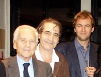 Jean d'Ormesson, Pierre Charras et Didier van Cauwelaert au Forum dans le noir.