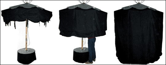 Le parasol Lire dans le noir, ouvert et fermé.
