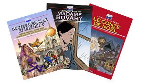 Couvertures des romans BD (Les Mille et une nuits, Madame Bovary, Contes de Noel)