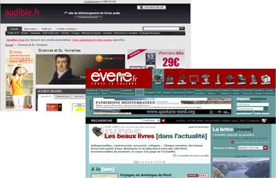 captures écran des sites Evene.fr et Audible.fr