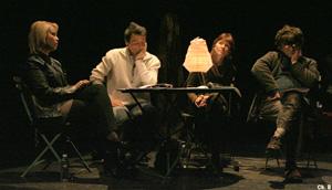 Régis Jauffret, Nancy Houston et Jean-Bernard Pouy sur scène