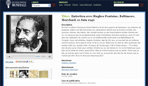 Page de la BNM illustrant l'entretien avec Hughes Fontaine, ancien esclave noir américain
