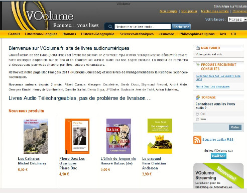 Capture d'écran du site de Voolume