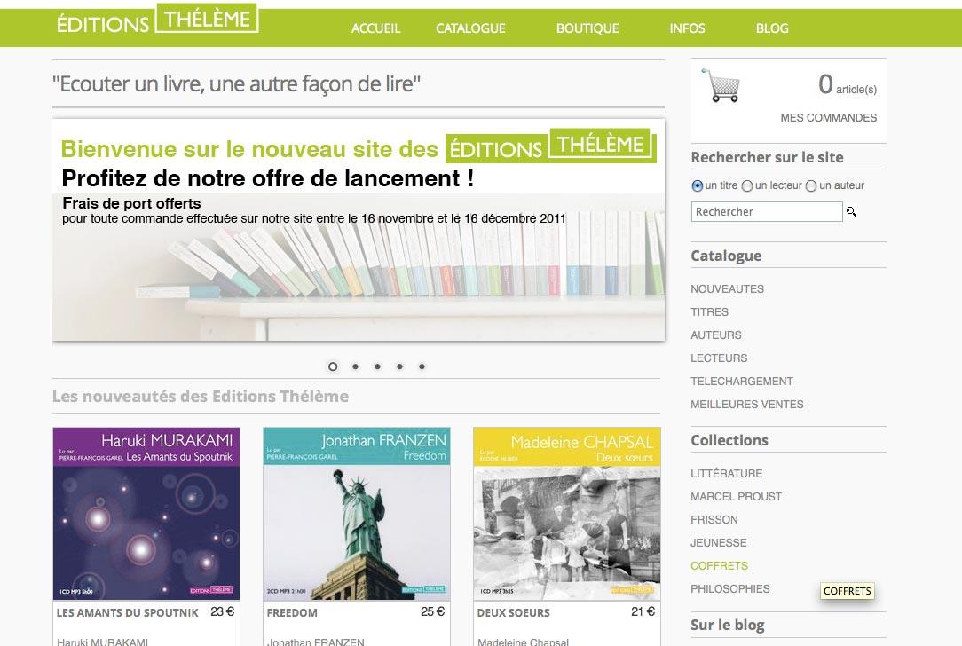 Les éditions Thélème lancent leur nouveau site